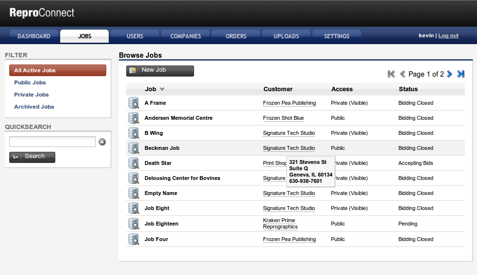 Browse Jobs - This a view of all the jobs.