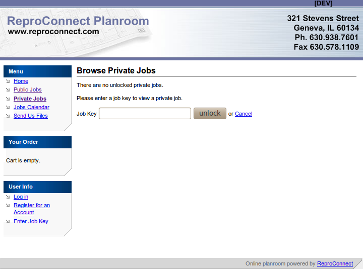 To access private jobs you need to log in using a provided job key.