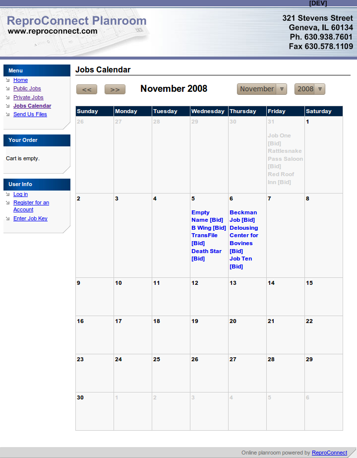 This is the calendar view. It shows all public jobs for the given month as well as any private jobs you've unlocked.