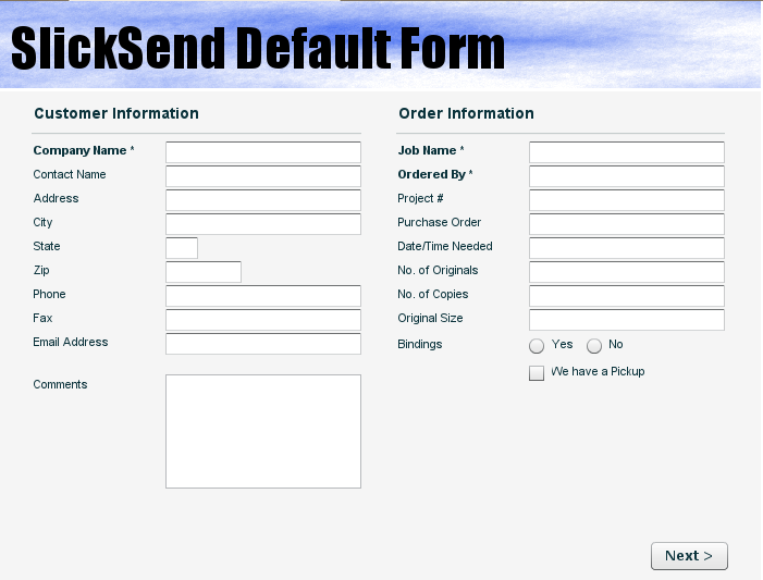 This is an example of the Flex form. All of the fields and the header image are configurable.